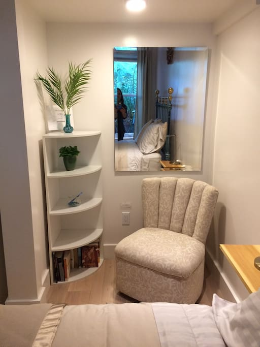 Bedroom seating and corner nook shelf