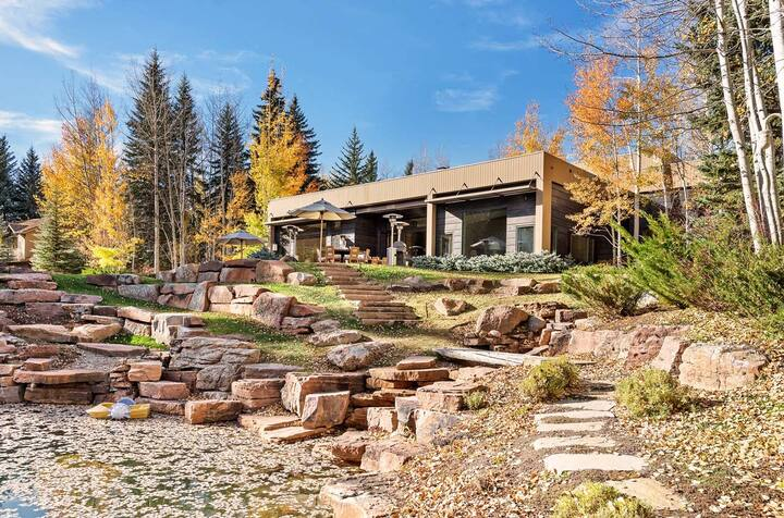 Luxe Aspen Estate on Roaring Fork With Filtered Private Swimming Pond