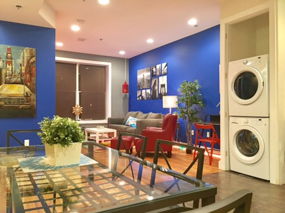 Open floor plan with Washer/Dryer in the apartment