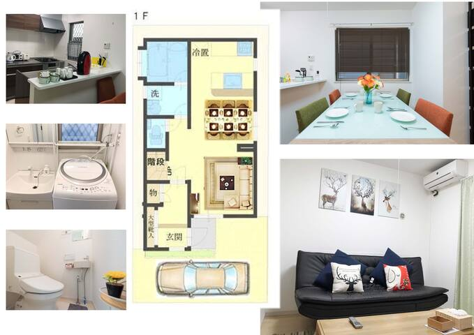 Living room,kitchen,bathroom,WC