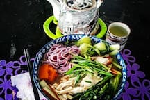 Chinese purple potato noodle soup with chicken.