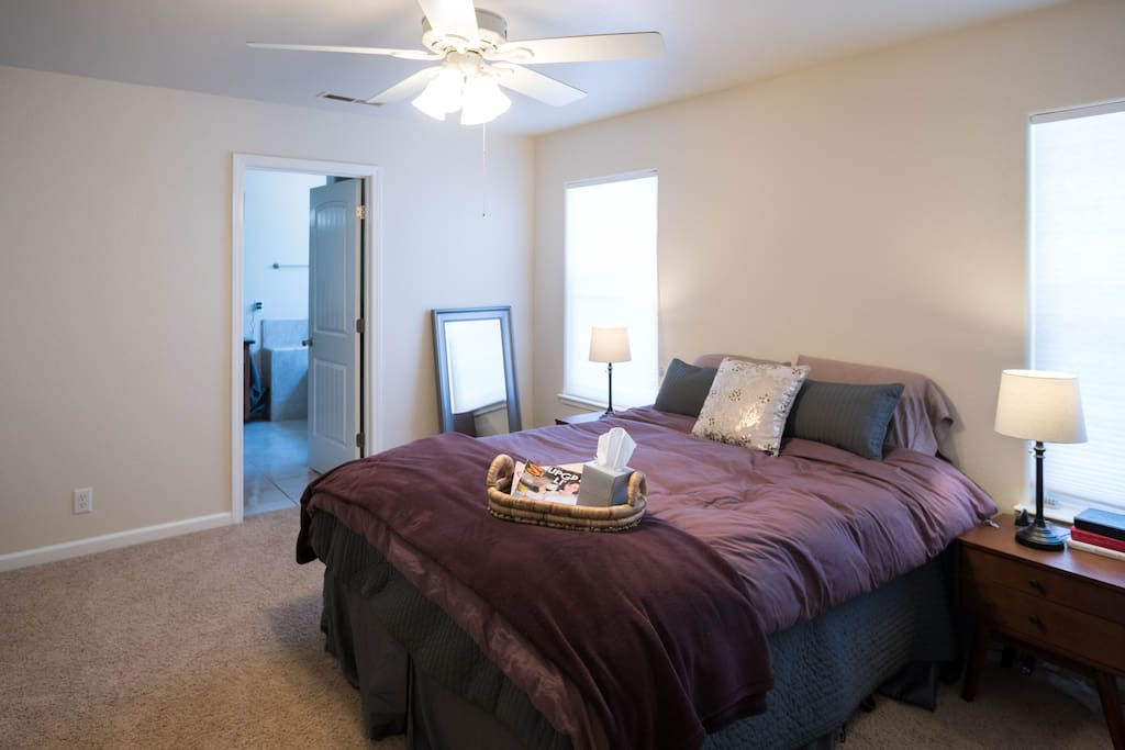 Master bedroom, comfy queen bed and private bathroom.