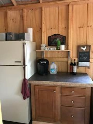 Full refrigerator with coffee maker, hot plate, and grill on porch.