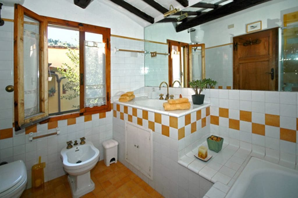The shared bathroom with shower