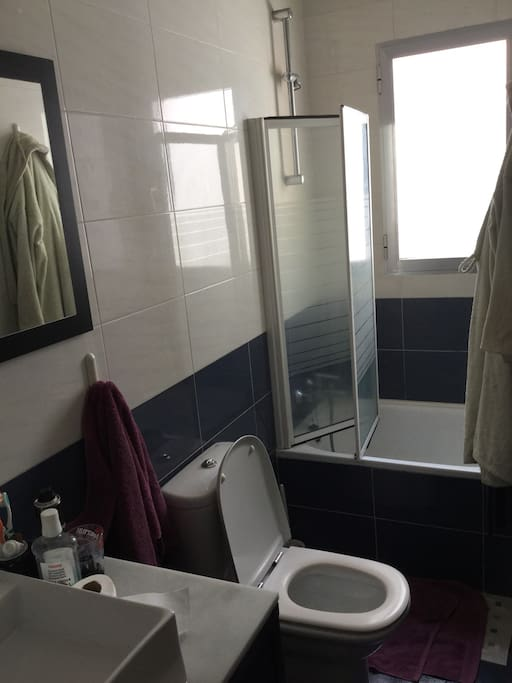 Baño ofrezco gratis toallas, champu gel de ducha, jabón, toallas secador de pelo, plancha de pelo. Bathroom.I provide by free towels, champú, soap, towels, hair drier, and hair iron.