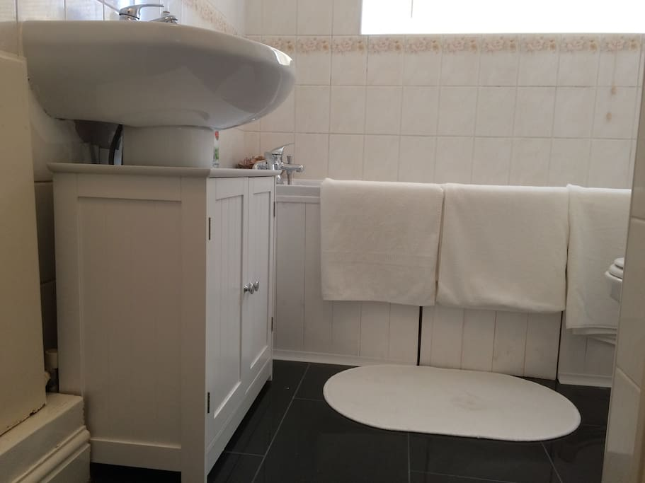 Bathroom with power shower and heated towel rail.