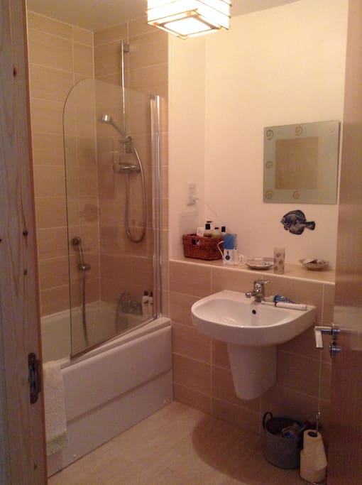Shared bathroom with shower over bath