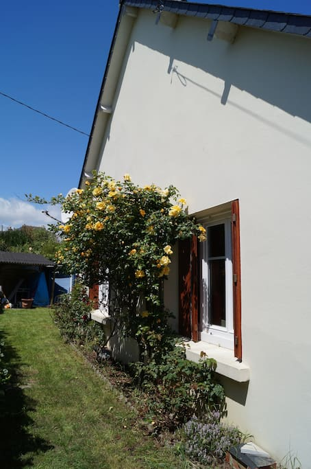petit jardin fleuri,barbecue à disposition ,possibilité d'abriter des vélos.