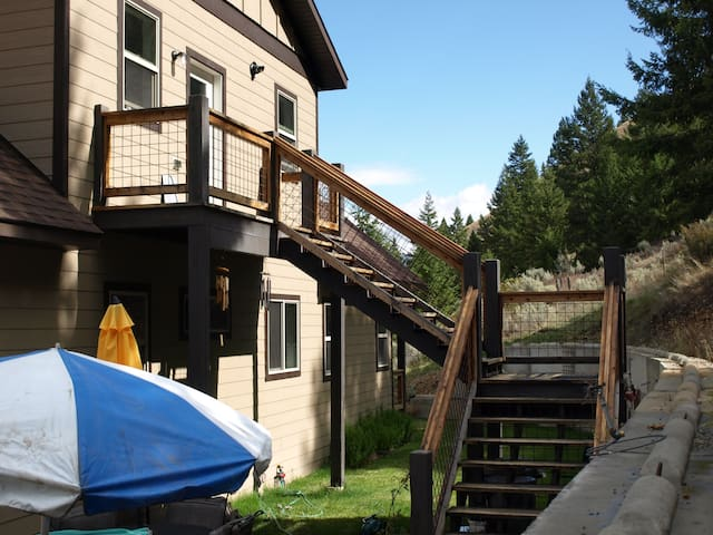 The apartment has its own private outside entrance and deck.