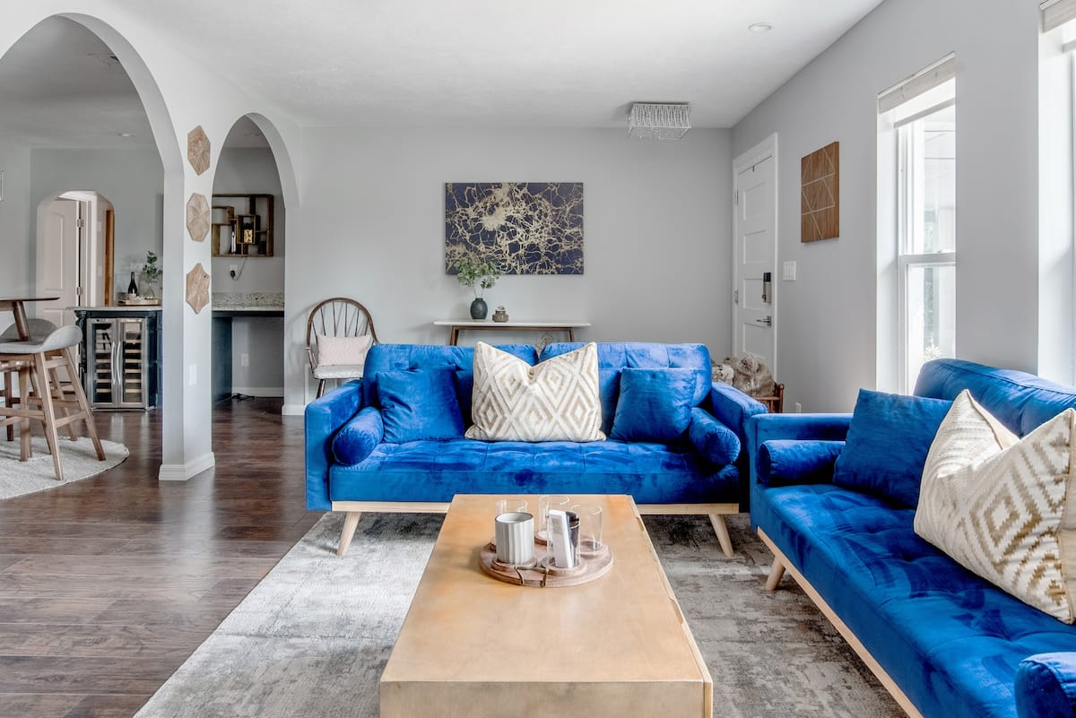 Lounge on Blue Velvet Couches at a Charming Hideaway