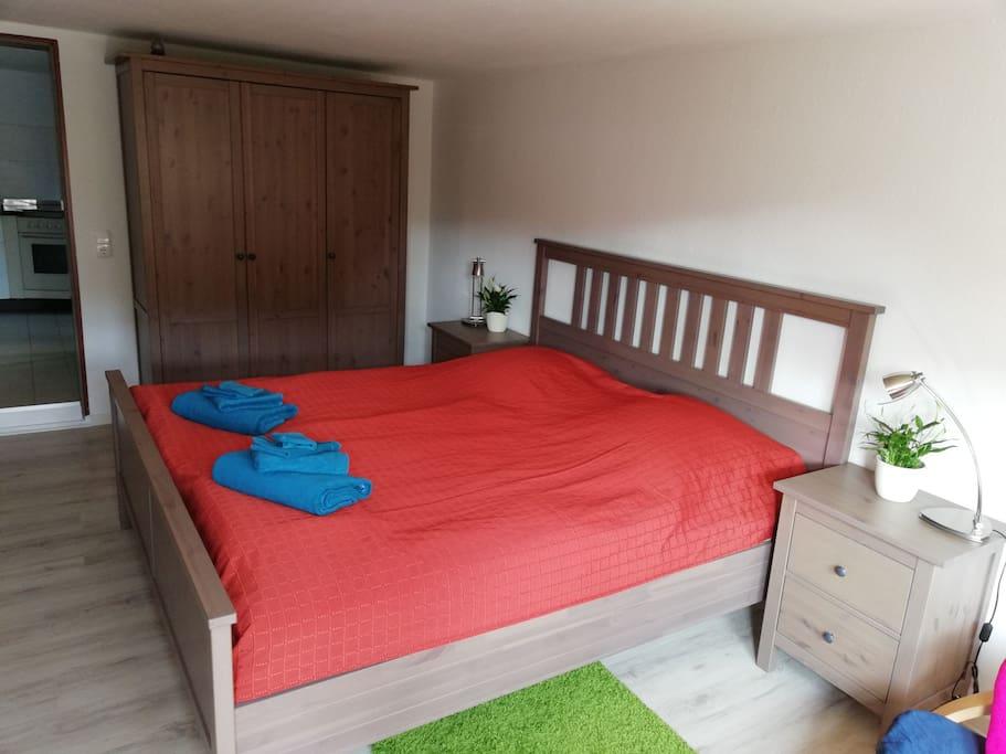 Doppelbett im Wohn/Schlafzimmer