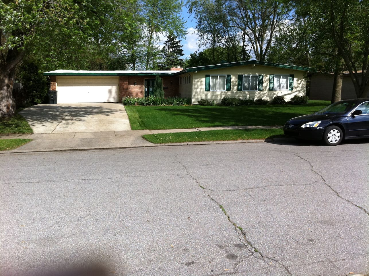Our home is a 2580 sq. ft. ranch with a large front yard, large fenced in back yard and patio with views of small lake.