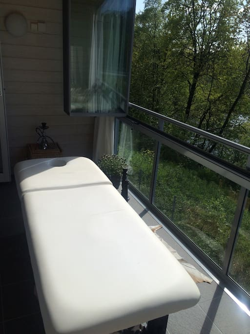 Massage bench is available on the terrace, I use it as a sunbed.