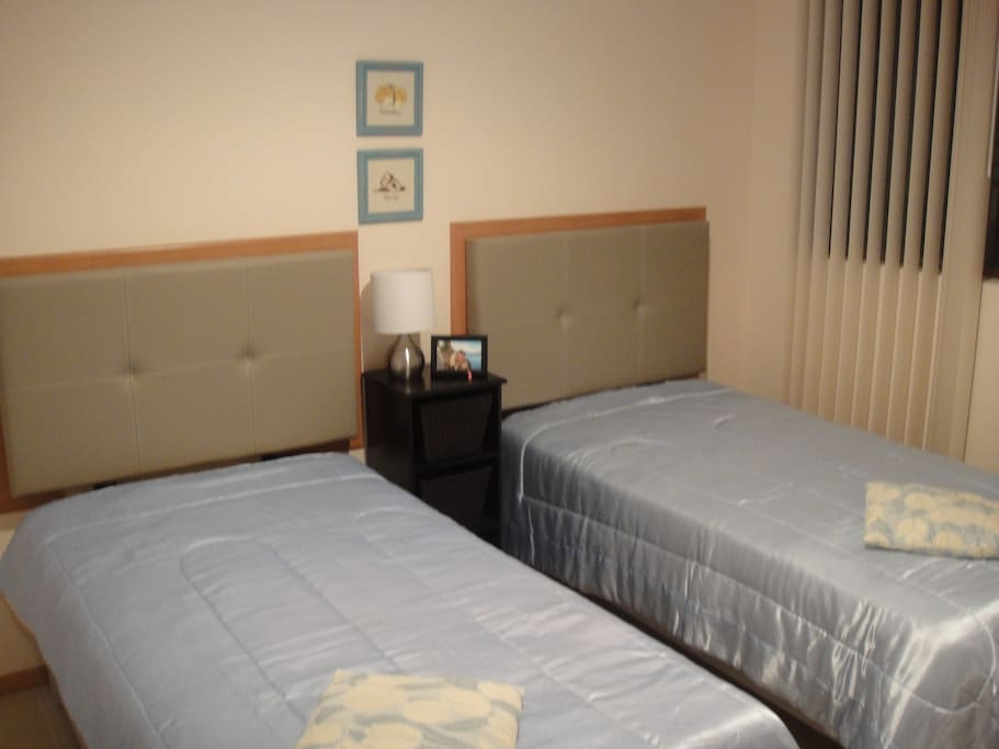 This bedroom has twin beds and a large closet.  The beds can be pushed together to make a king size, let me know your preference.  There is an air conditioner for personal comfort.