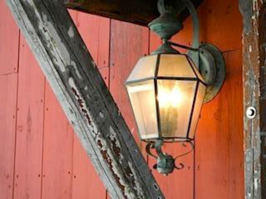 Vintage carriage lamp and portico.