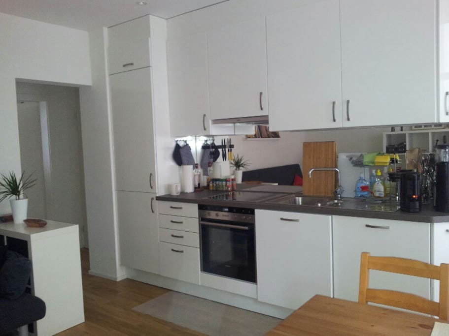 New kitchen with large fridge and freezer, fully equipped, dishwasher, coffee and tea making facilities, smoothie maker, muffin maker etc.