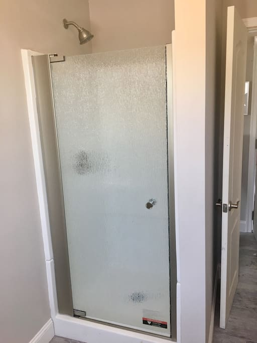 Stand-up shower with frosted glass door.