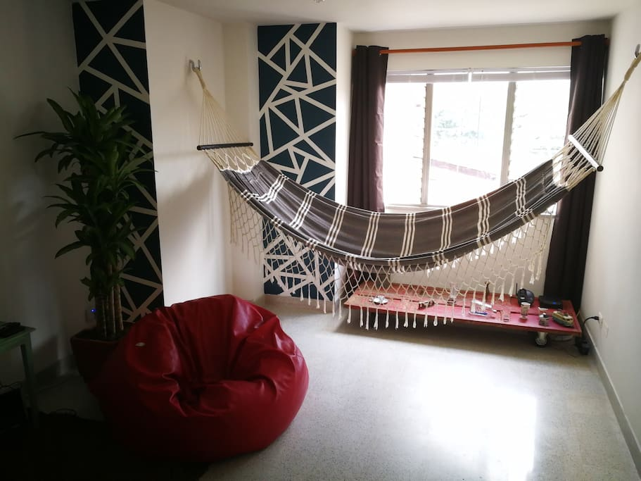 Shared living room with hammock