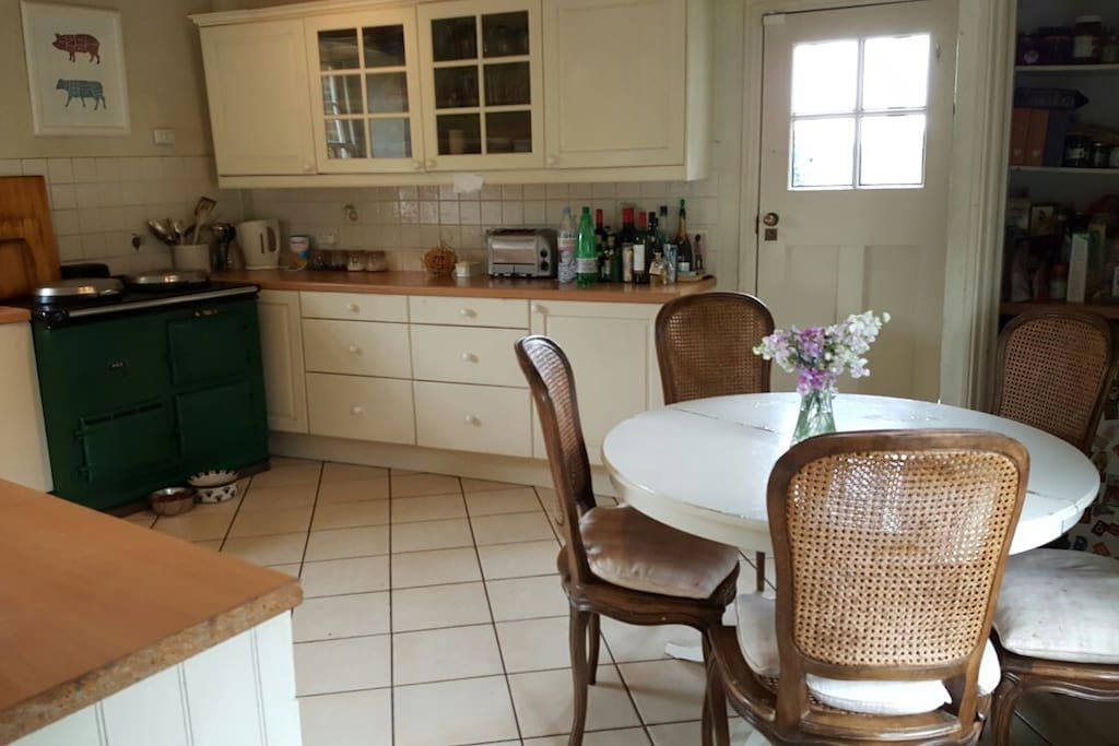 Kitchen, with aga and small round table
