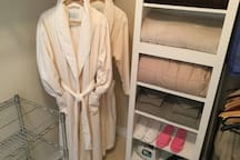 Plush bath robes, complimentary slippers, extra blankets & towels