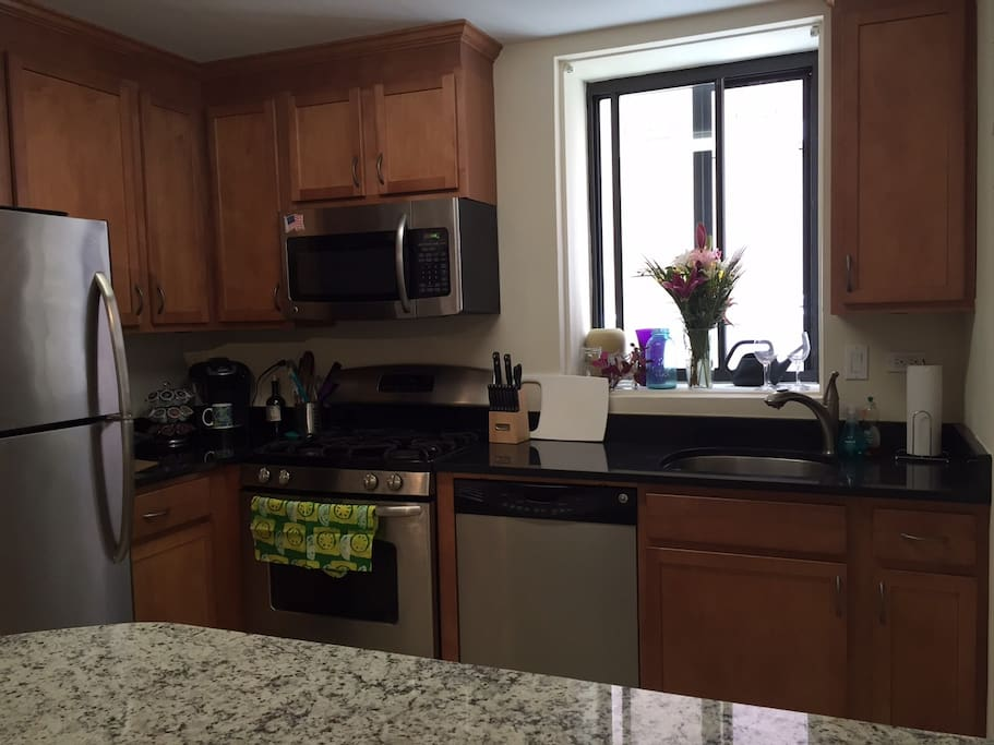 Updated kitchen has gas stove, dishwasher, Keurig and Soda Stream in addition to standard appliances