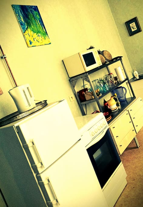 the kitchen with fridge and freezer, gas fire and oven, microwave and water-boiler