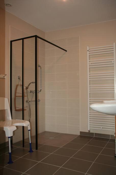 1ere salle d'eau adaptée aux  personnes à mobilité déduite