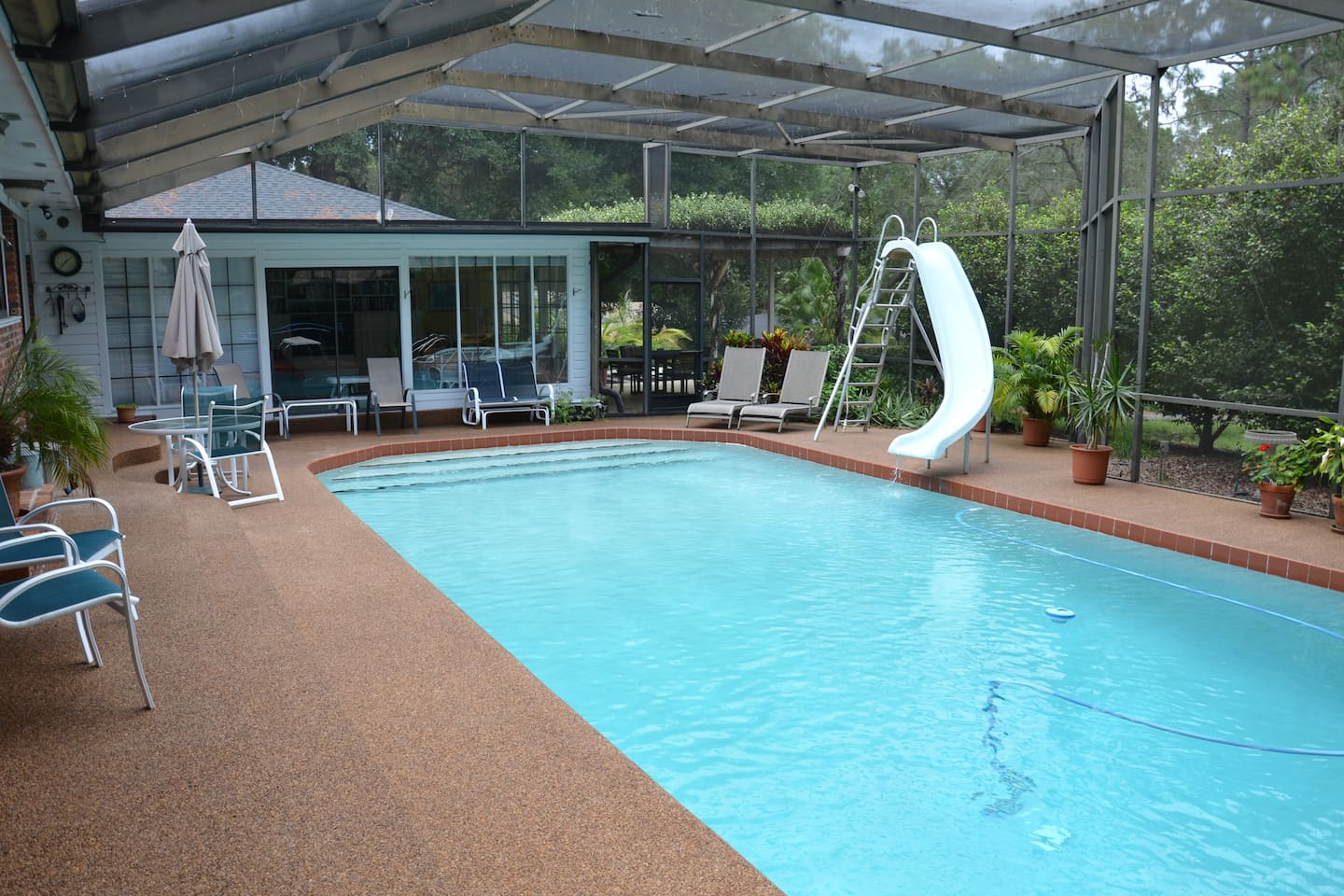 LARGE pool with slide and diving board. Plenty of room to lounge!
