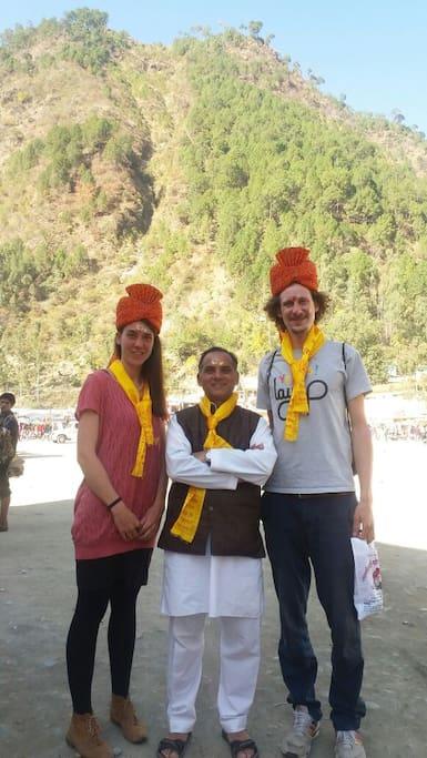 Krishna Nand ji with guests at Anand Ganga