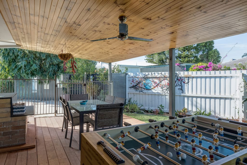 The outdoor entertainment area