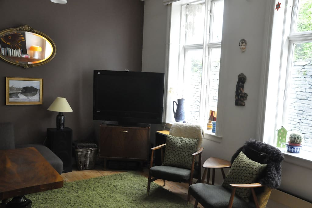 Large tv and tall windows
