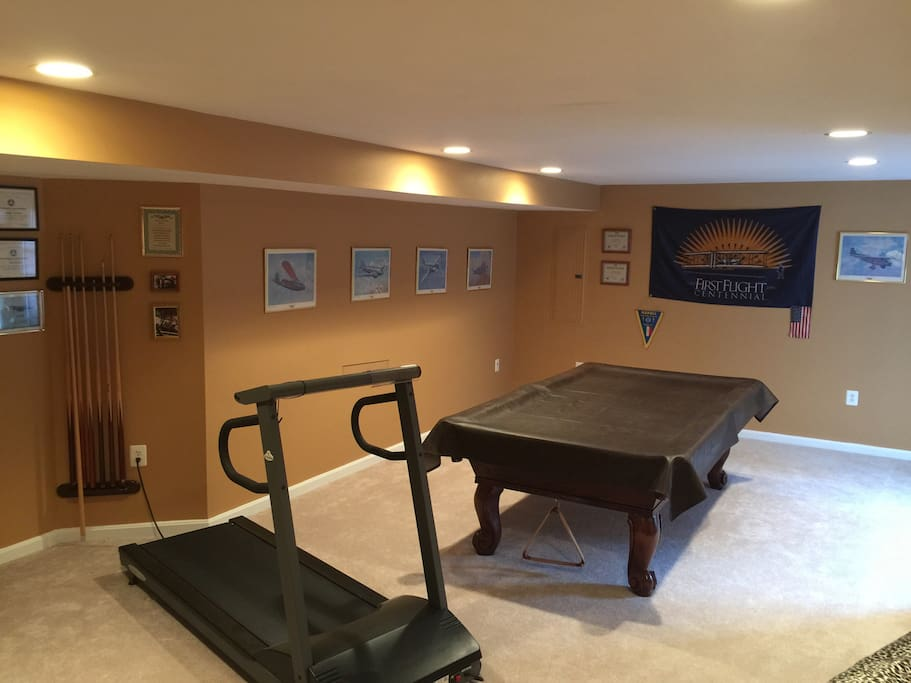 Pool table and treadmill