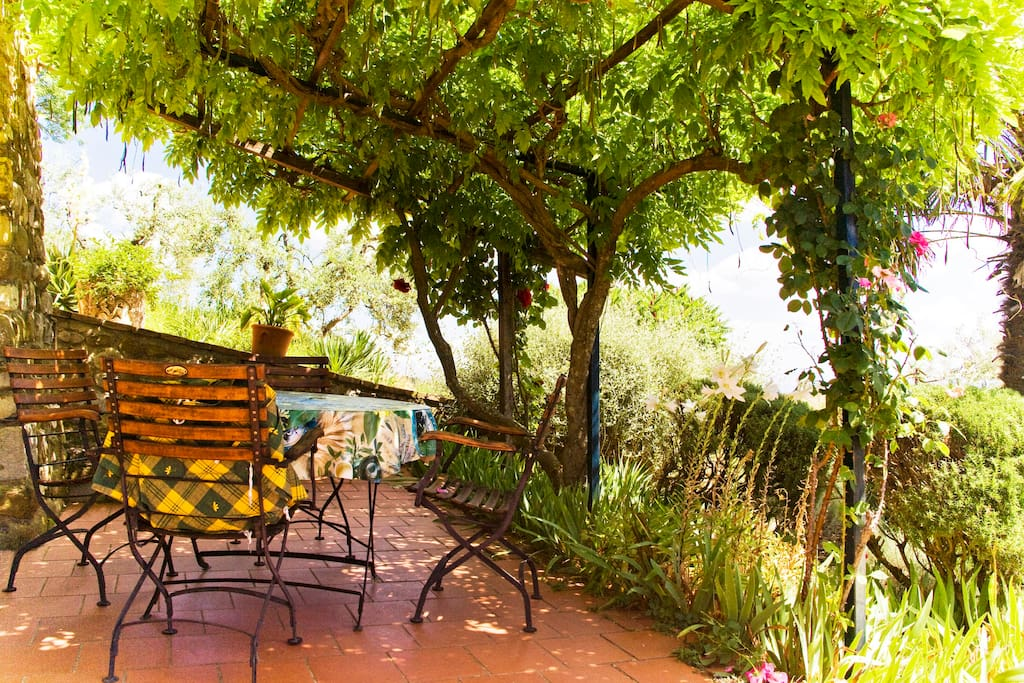 The shady private terrace right outside the lounge Cottage Pino