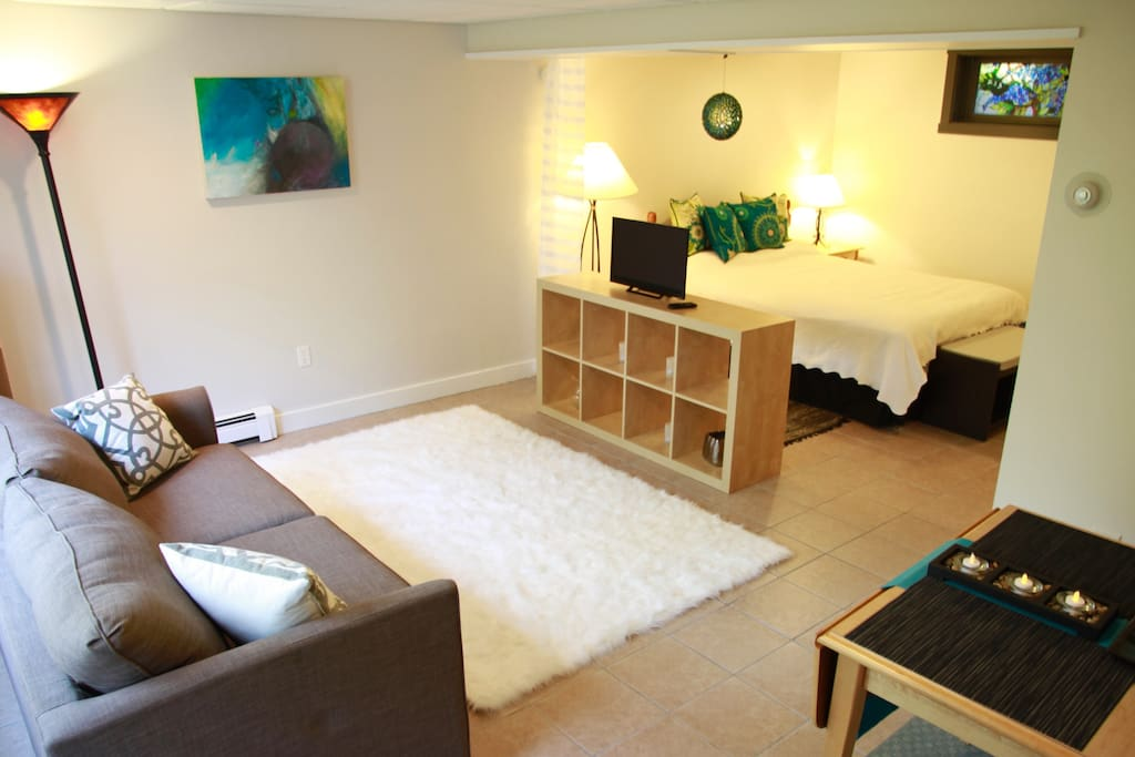 Chic Studio Apartment with Queen Bed and Couch with its own private bathroom and kitchenette with all essentials