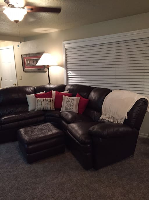 Living Room- comfy leather sectional.