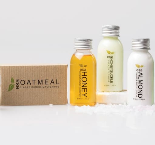 Oatmeal Soap, Honey Shampoo, Honeysuckle Conditioner and Almond  Hand & Body Lotion are some of the Amenities we provide.