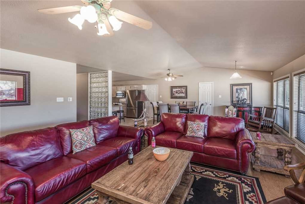 Stretch out and relax - Whether you're posting photos from your fun-filled day (the house has free wifi), sprawled out on the floor playing with the kids, or stretched out for a nap on the couch, the family room lets you do it in comfort and style.
