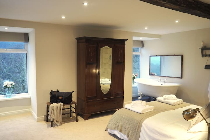 Pen Y Fan- The Master bedroom with views of the beacons and the forest.