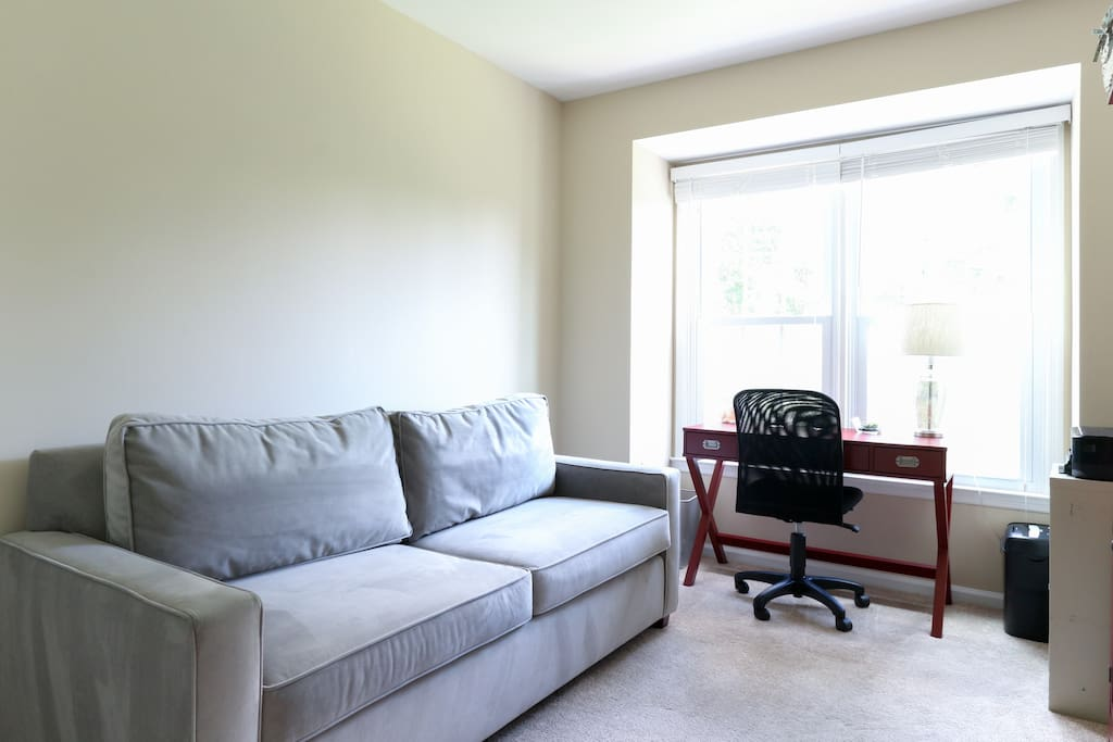 Private room with West Elm queen size sleeper sofa bed, extremely comfortable.