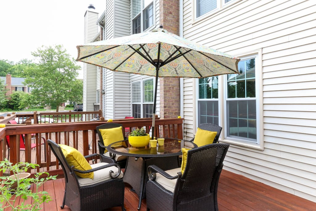Beautiful deck for relaxing and full use of Weber grill.