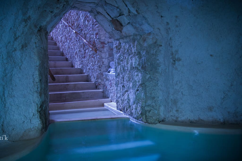 underground cave with hot and salted water