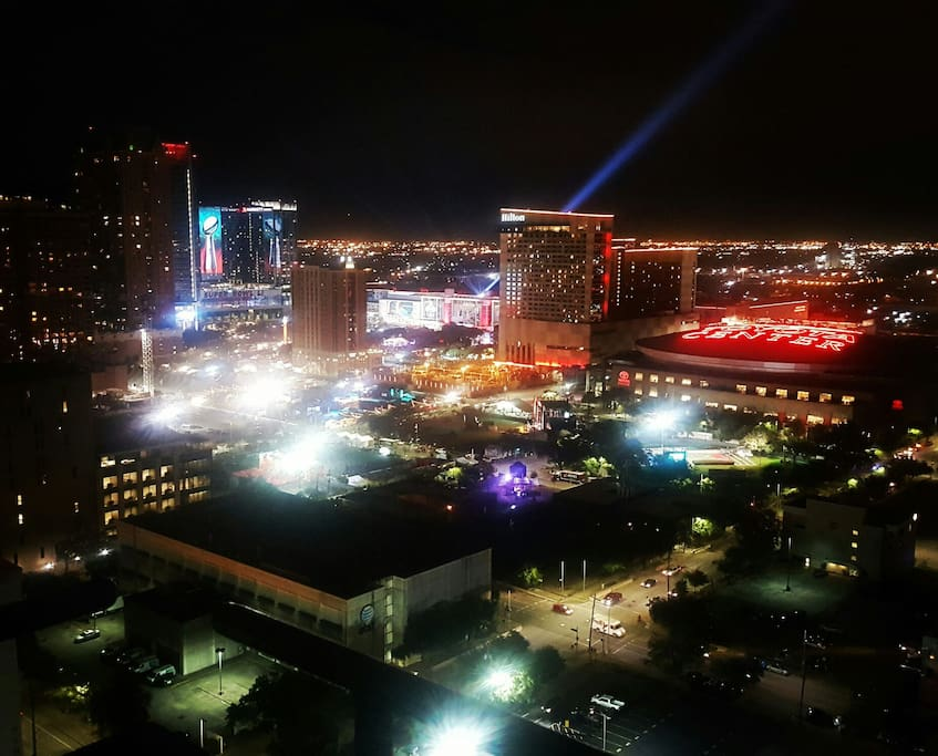 View of the NFL Experience from the Penthouse's main balcony during Super Bowl LI.