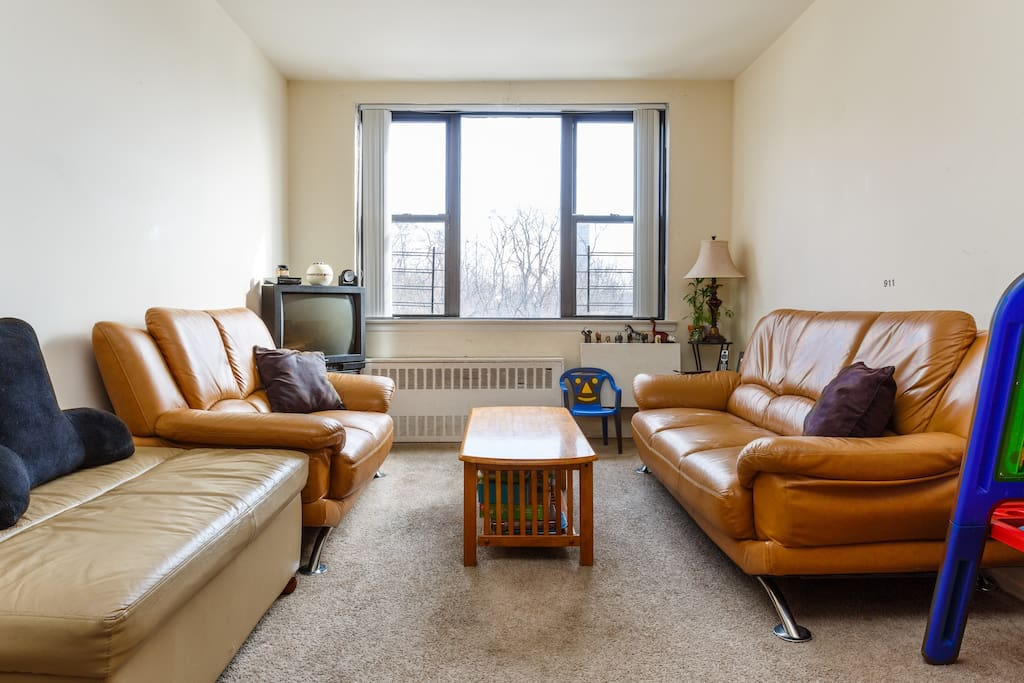 Living room has 2 spacious sofas, an ottoman that pulls into a twin bed and uninterrupted views of Central Park