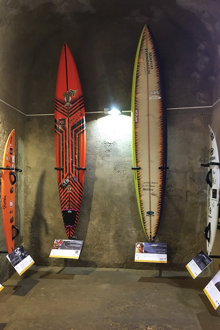 Surfboards exhibition inside the fort