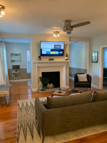 "Family room with 50"" inch TV with Sling/Netflix."