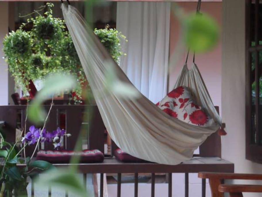 Balconies come with coffee table, armchair as well as hammock