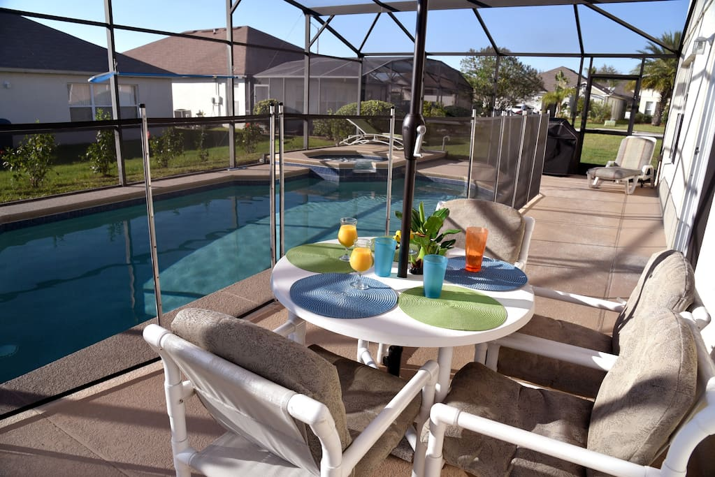 View of Swimming Pool with security fence.