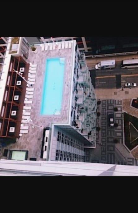 Sky view of rooftop pool