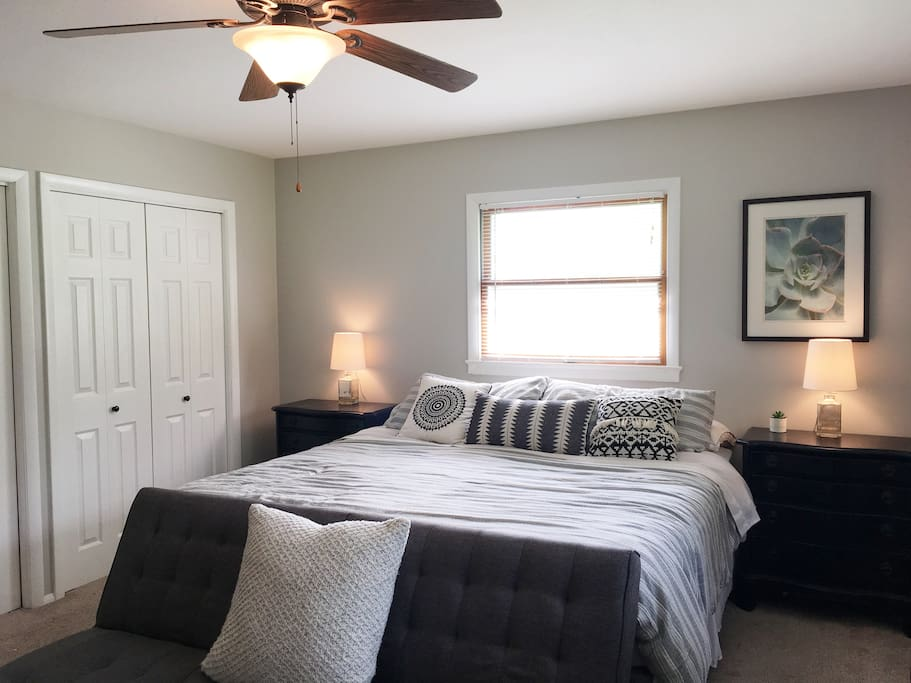 Large Master bedroom; King bed, electric fireplace, wall-mounted tv (Hulu, NetFlix, HBO), private bath.