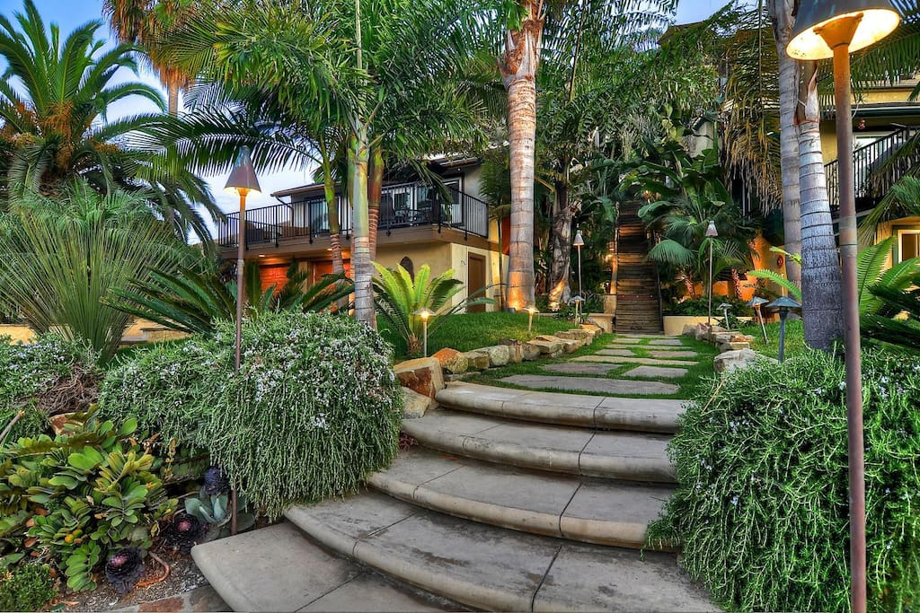 Lush walkway from the street entrance